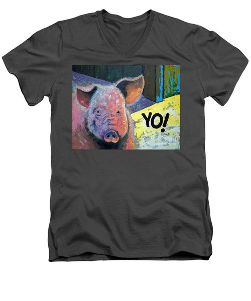 Men's V-Neck T-Shirt featuring the painting Yo Pig by Suzanne McKee