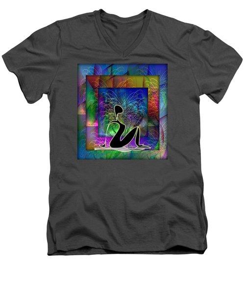Yoga 6 Men's V-Neck T-Shirt by Iris Gelbart
