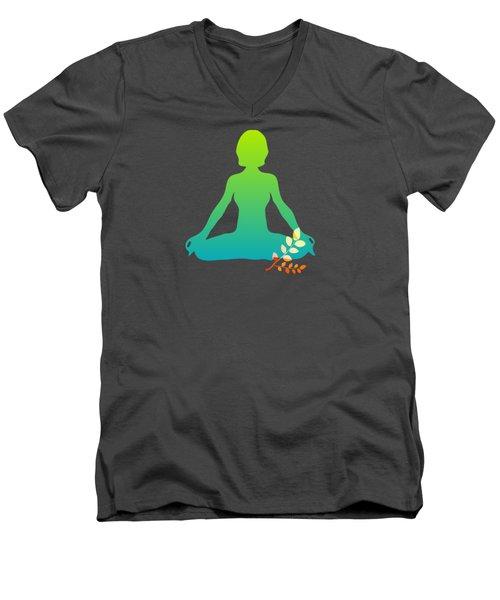 Yoga Meditation Pose Abstract Illustration Men's V-Neck T-Shirt