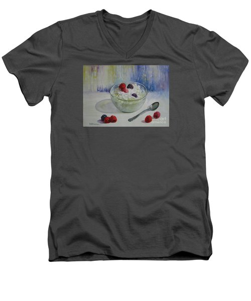 Men's V-Neck T-Shirt featuring the painting Yoghurt Time by Elena Oleniuc