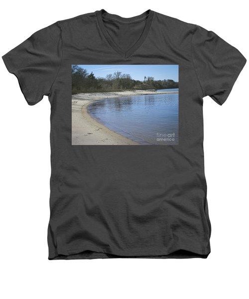 York River Men's V-Neck T-Shirt by Melissa Messick