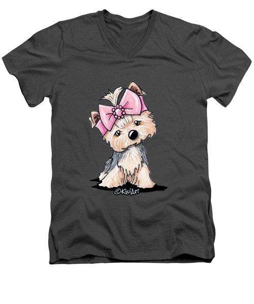 Yorkie In Bow Men's V-Neck T-Shirt
