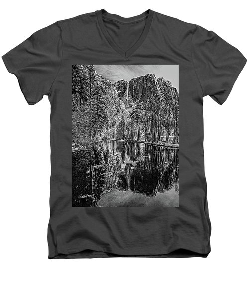 Men's V-Neck T-Shirt featuring the photograph Yosemite Falls From The Swinging Bridge In Black And White by Bill Gallagher