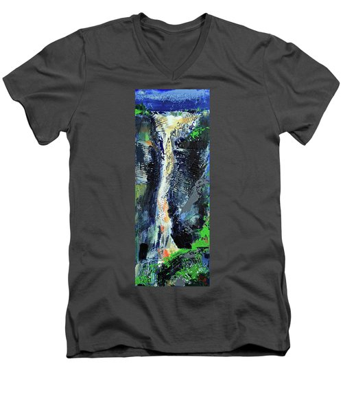 Men's V-Neck T-Shirt featuring the painting Yosemite Falls by Walter Fahmy