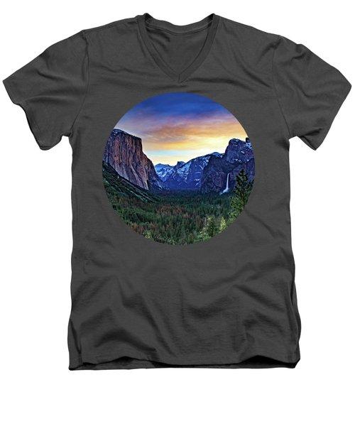 Yosemite Sunrise Men's V-Neck T-Shirt by Adam Morsa