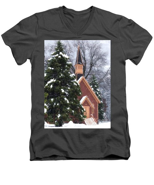 Men's V-Neck T-Shirt featuring the photograph Yosemite Valley Chapel  by Vincent Bonafede