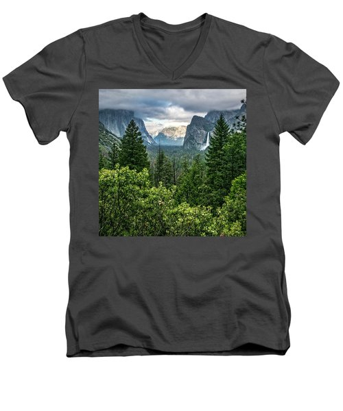 Last Light For Tunnel View Men's V-Neck T-Shirt by Ryan Weddle