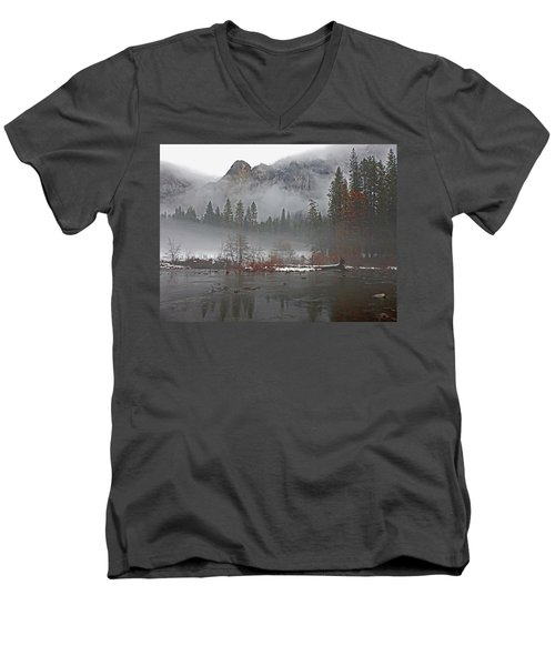 Men's V-Neck T-Shirt featuring the photograph Yosemite Winter Beginnings by Walter Fahmy