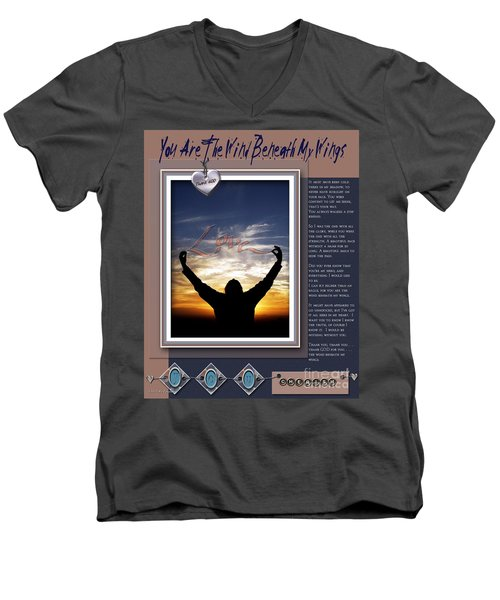 Men's V-Neck T-Shirt featuring the digital art You Are The Wind Beneath My Wings by Kathy Tarochione