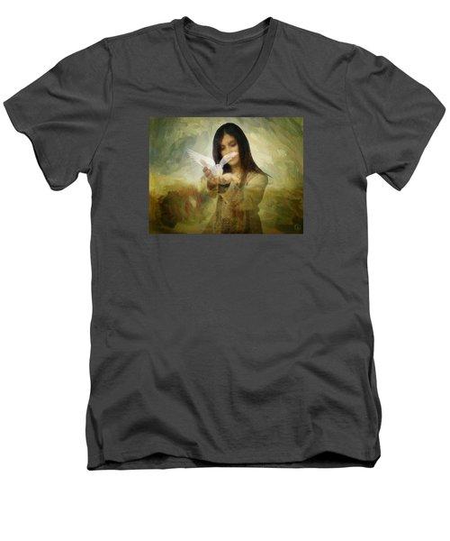 You Bird Of Freedom And Peace Men's V-Neck T-Shirt by Gun Legler