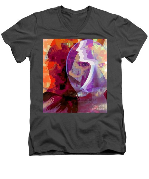 Men's V-Neck T-Shirt featuring the mixed media You Can Beat It by Fania Simon