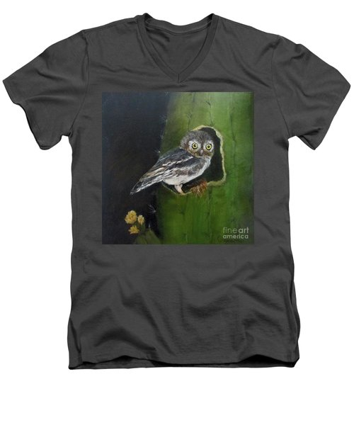 Men's V-Neck T-Shirt featuring the painting You Caught Me by Roseann Gilmore