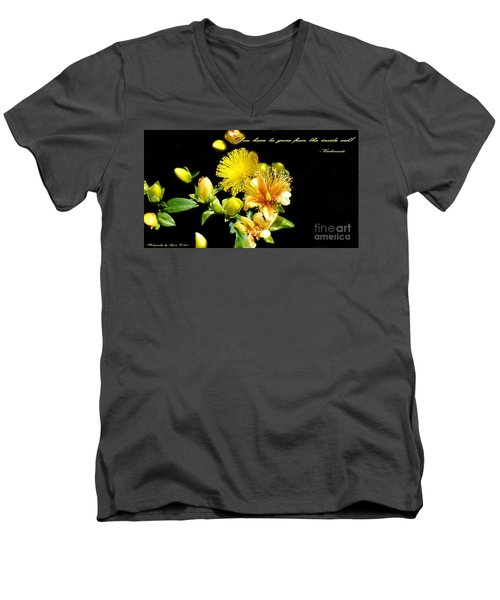 Men's V-Neck T-Shirt featuring the photograph You Have To Grow by Gena Weiser