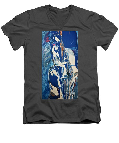 Men's V-Neck T-Shirt featuring the painting You Hold My Heart by Deborah Nell