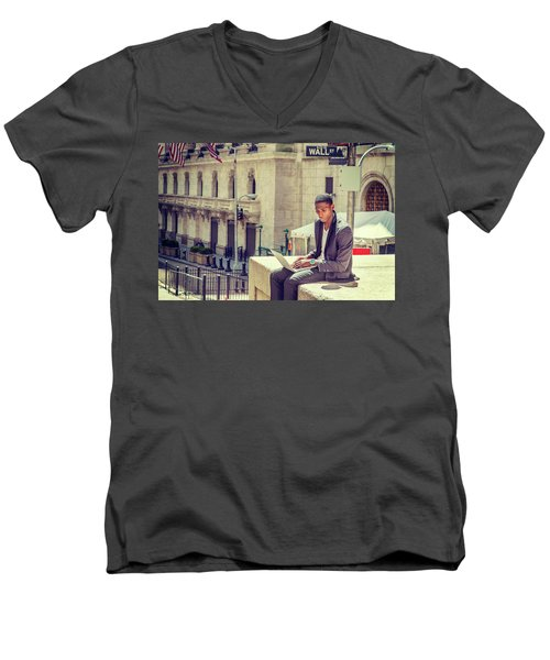 Young African American Man Working On Wall Street In New York Men's V-Neck T-Shirt