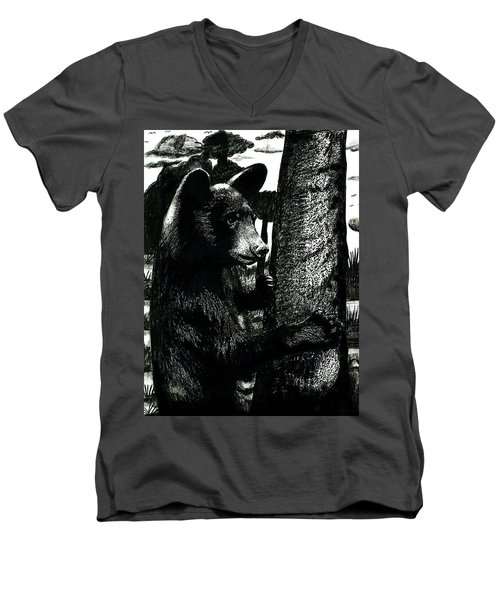 Young Black Bear In Tree  Men's V-Neck T-Shirt