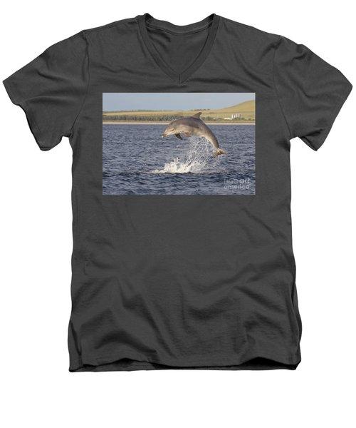 Young Bottlenose Dolphin - Scotland #13 Men's V-Neck T-Shirt