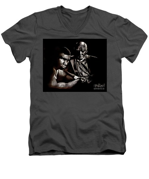 Young Boxer And Soon To Be World Champion Mike Tyson And Trainer Cus Damato Men's V-Neck T-Shirt
