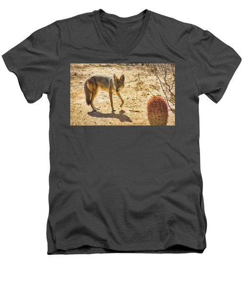 Young Coyote And Cactus Men's V-Neck T-Shirt