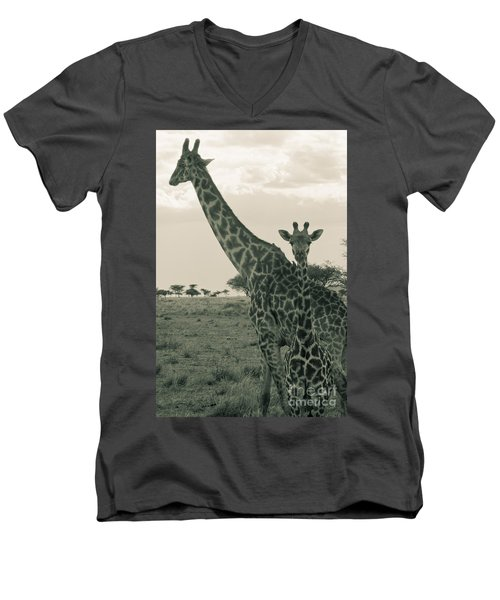 Young Giraffe With Mom In Sepia Men's V-Neck T-Shirt by Darcy Michaelchuk