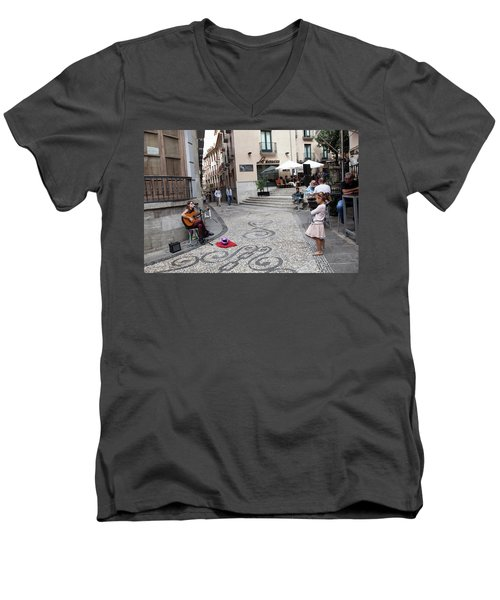 Men's V-Neck T-Shirt featuring the photograph Young Girl Listening To Guitar - Grenada - Spain by Madeline Ellis