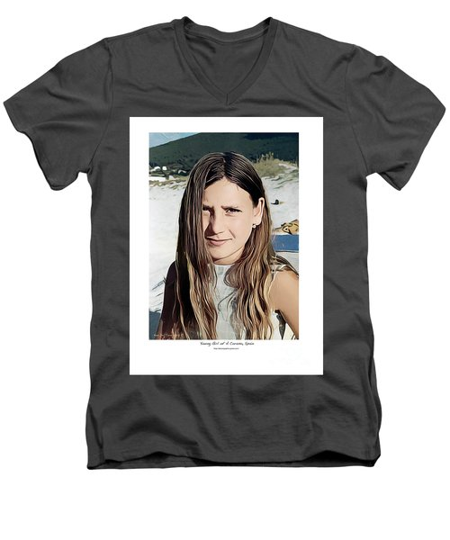 Young Girl, Spain Men's V-Neck T-Shirt by Kenneth De Tore