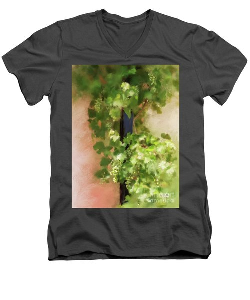Men's V-Neck T-Shirt featuring the digital art Young Greek Wine by Lois Bryan