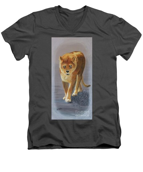 Young Male Lion Men's V-Neck T-Shirt