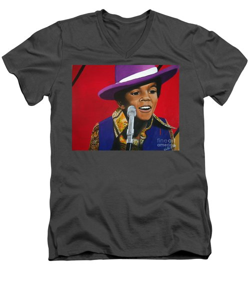 Young Michael Jackson Singing Men's V-Neck T-Shirt by Chelle Brantley