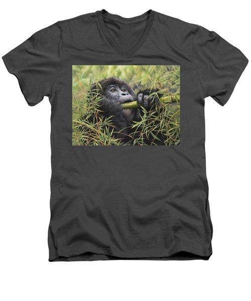 Young Mountain Gorilla Men's V-Neck T-Shirt