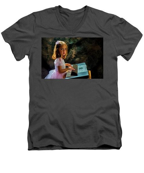 Young Musician Men's V-Neck T-Shirt by Kevin Cable