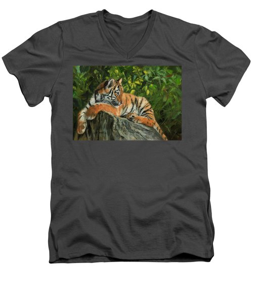 Men's V-Neck T-Shirt featuring the painting Young Tiger Resting On Rock by David Stribbling
