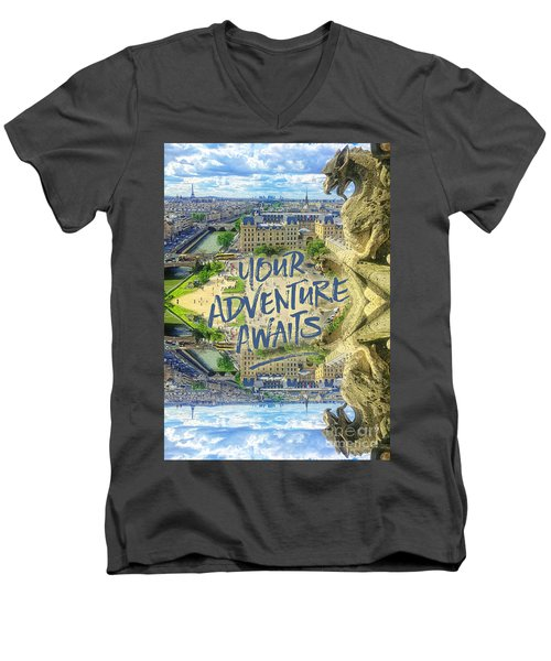 Your Adventure Awaits Notre-dame Cathedral Gargoyle Paris Men's V-Neck T-Shirt