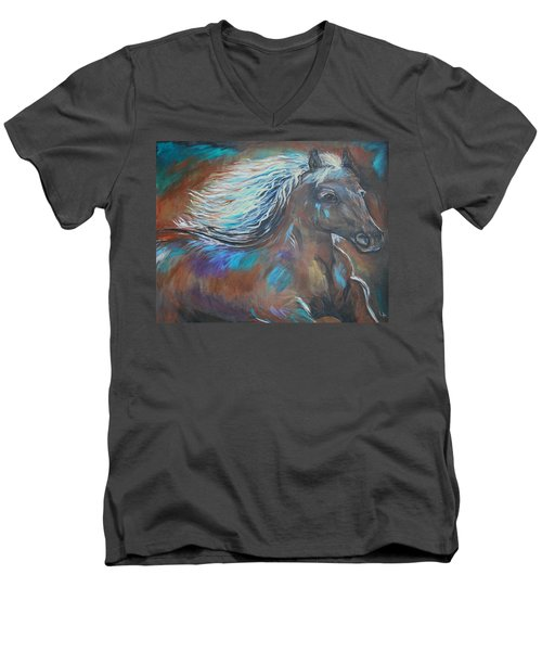 Men's V-Neck T-Shirt featuring the painting Your Majesty by Leslie Allen