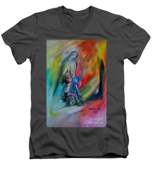 Men's V-Neck T-Shirt featuring the painting You're Always With Me by Deborah Nell
