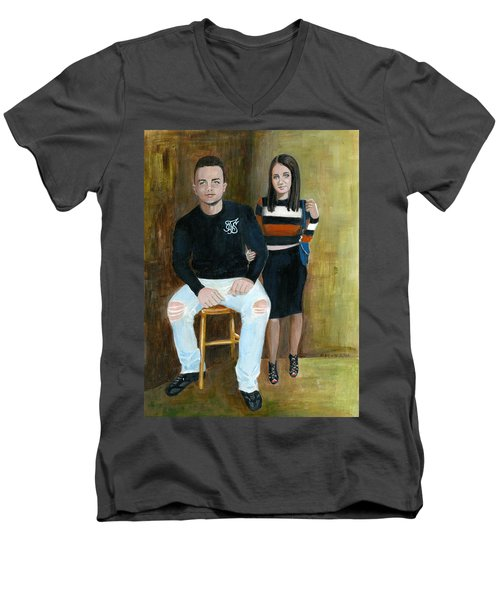 Youth And Beauty - Painting Men's V-Neck T-Shirt by Veronica Rickard