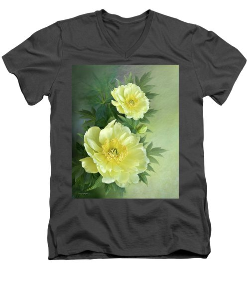 Yumi Itoh Peony Men's V-Neck T-Shirt by Thanh Thuy Nguyen