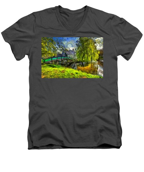 Zaanse Schans Men's V-Neck T-Shirt by Eva Lechner