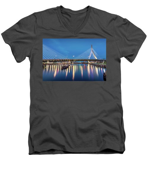 Zakim Bridge And Charles River At Dawn Men's V-Neck T-Shirt