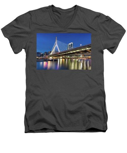 Zakim Bridge And Charles River Men's V-Neck T-Shirt