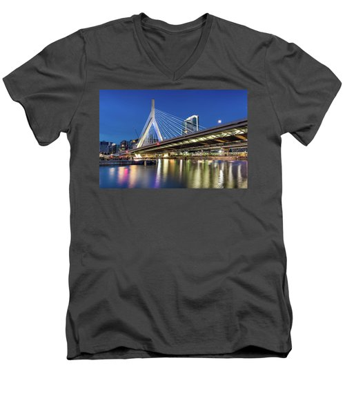 Zakim Bridge And Charles River Men's V-Neck T-Shirt