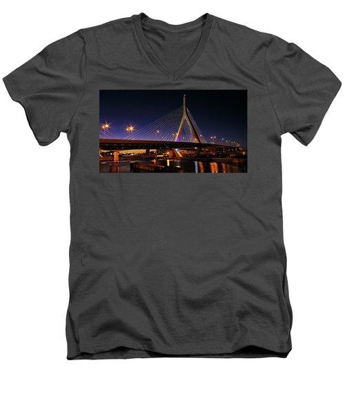 Zakim Bridge Boston Massachusetts At Night Men's V-Neck T-Shirt by Betty Denise