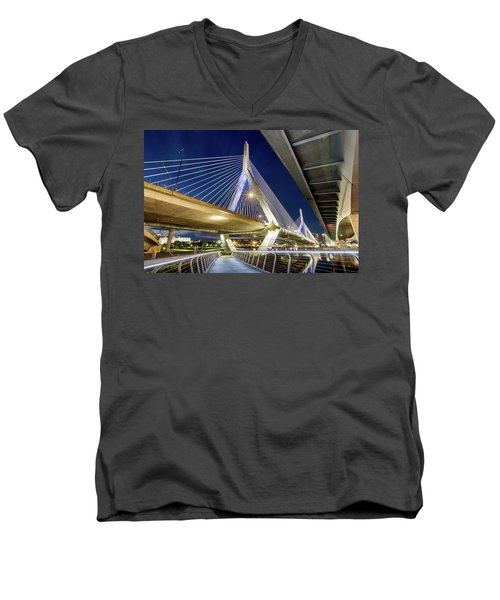 Zakim Bridge From Bridge Under Another Bridge Men's V-Neck T-Shirt