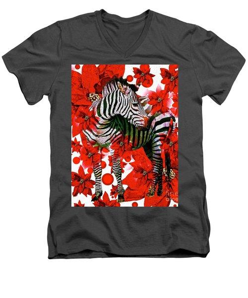 Zebra And Flowers Men's V-Neck T-Shirt