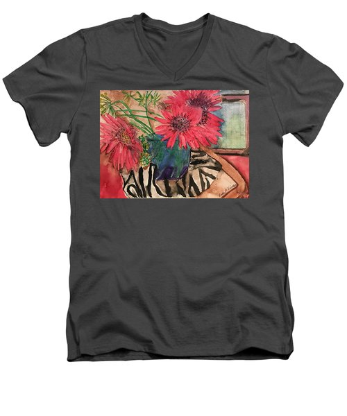 Zebra And Red Sunflowers  Men's V-Neck T-Shirt