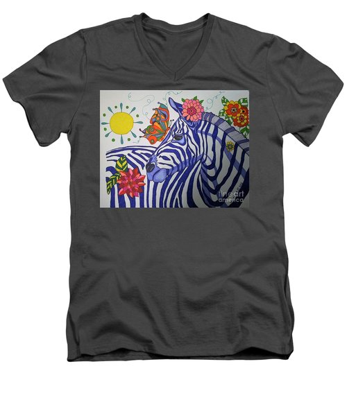 Men's V-Neck T-Shirt featuring the painting Zebra And Things by Alison Caltrider