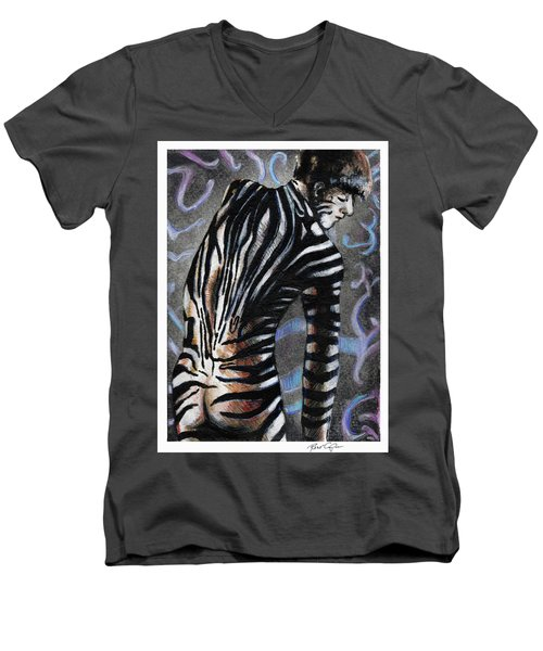 Men's V-Neck T-Shirt featuring the painting Zebra Boy At Dawn by Rene Capone