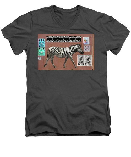 Men's V-Neck T-Shirt featuring the photograph Zebra Collage by Art Block Collections