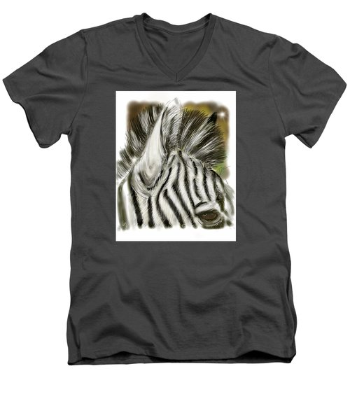 Zebra Digital Men's V-Neck T-Shirt by Darren Cannell