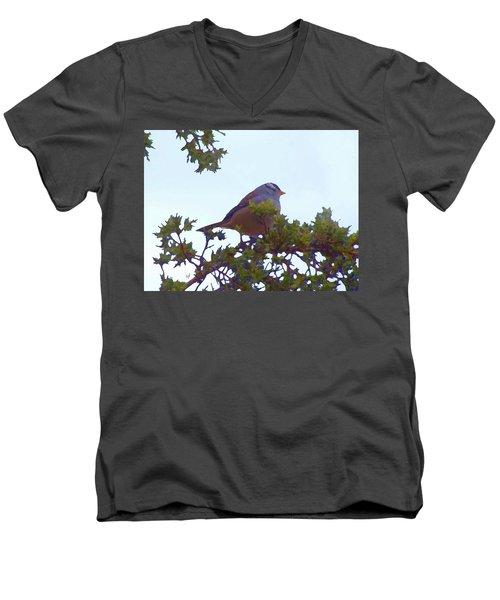 White Crowned Sparrow In Cedar Men's V-Neck T-Shirt